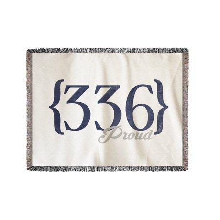 Greensboro, North Carolina - 336 Area Code (Blue) - Lantern Press Artwork (60x80 Woven Chenille Yarn