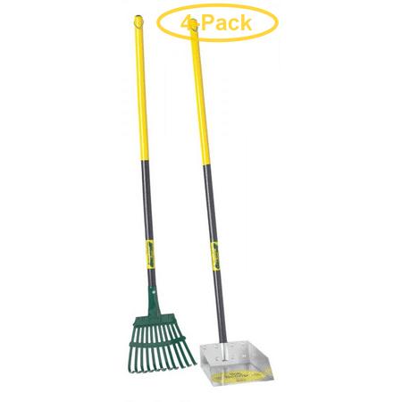 Flexrake The Scoop - Poop Scoop & Steel Rake with Wood Handle Small - 11W x 36H x 11D - Pack of 4