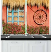 Barn Wood Wagon Wheel Curtains 2 Panels Set, Country House in Ecuador Red Wall Window Summer Flowers Straw Roof, Window Drapes for Living Room Bedroom, 55W X 39L Inches, Multicolor, by Ambesonne