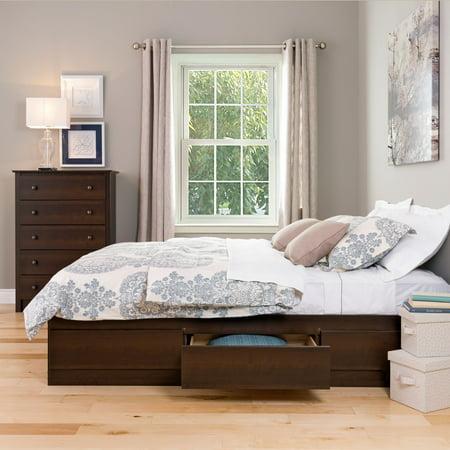 Prepac Mates Bed - Coal Harbor Queen Mates Platform Storage Bed with 6 Drawers, Espresso