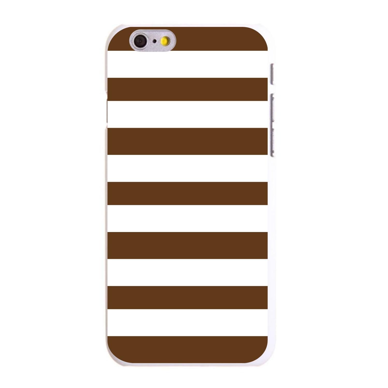 "CUSTOM White Hard Plastic Snap-On Case for Apple iPhone 6 PLUS / 6S PLUS (5.5"" Screen) - Brown & White Bold Stripes"