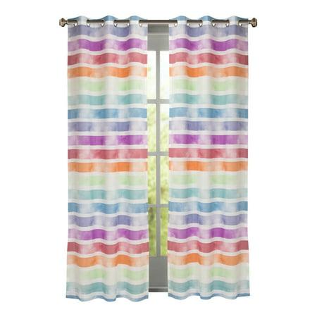 Multi Water Color Stripe Window Panel Pair