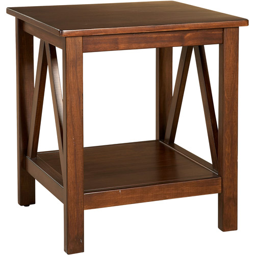 Linon Titian End Table with Bottom Shelf, 22 inches Tall, Antique Tobacco by Linon