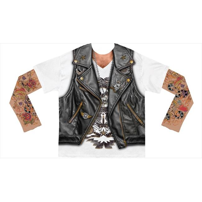 Faux Real Mens Mens Biker Tee with Tattoo Mesh Sleeves T-Shirt