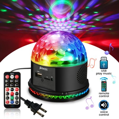 Sound Activated Remote Control 3 RGB 48 LED Lights Crystal Magic Ball Support Music MP3 Player for Stage Lights Party Lights Christmas Disco DJ Lights (Halloween Light Activated Screamers)