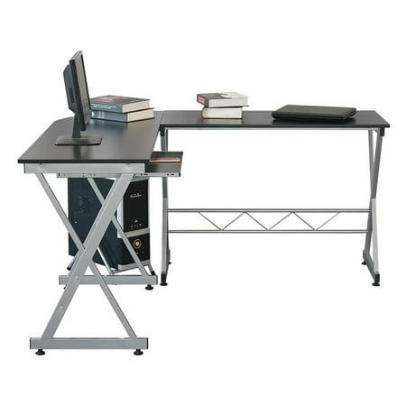 Zimtown Modern L-Shaped Desk, Corner Computer Desk PC Latop Study Table Workstation Home Office Wood & Metal, Black