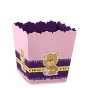 Girl Baby Teddy Bear - Party Mini Favor Boxes - Baby Shower or 1st Birthday Party Treat Candy Boxes - Set of 12