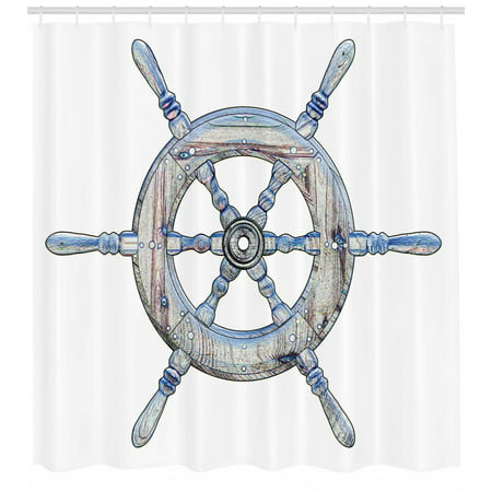 Nautical Shower Curtain, Illustration of A Wooden Ship Wheel over White Backdrop Sail Exploring Ocean Theme, Fabric Bathroom Set with Hooks, Blue White, by Ambesonne ()