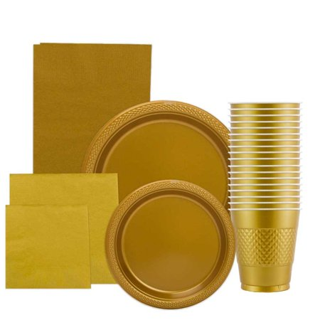 JAM Paper Party Supply Assortment Pack, Gold, Plates (2 Sizes), Napkins (2 Sizes), Cups (1 pack) & Tablecloth (1 pack), 6/pack