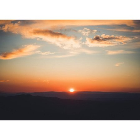 Sun Setting Behind Mountain Home Wall Artwork Decoration Posters, Small Signs - - Sun Decorations