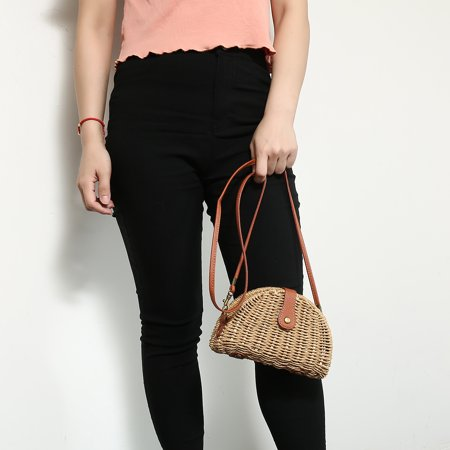 Small Straw Vintage Bag Rattan Woven Handbag Ladies Knitted Messenger Bags Gift ()
