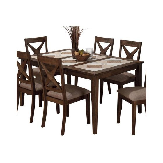 Jofran Tri Colored Tile Top Dining Table In Tucson Brown