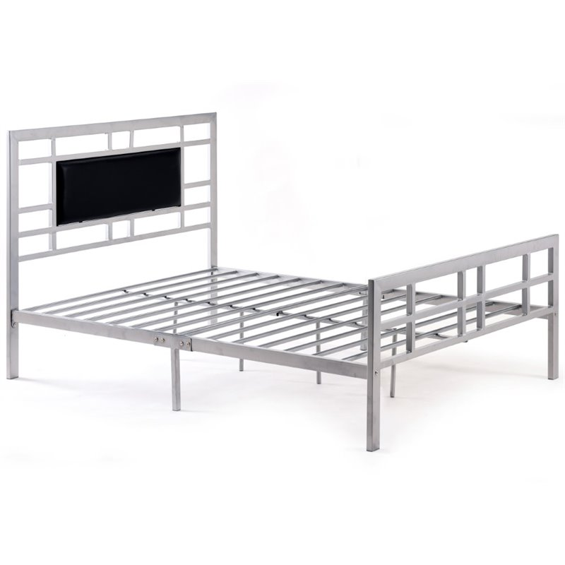 Pemberly Row Queen Metal Bed in Silver