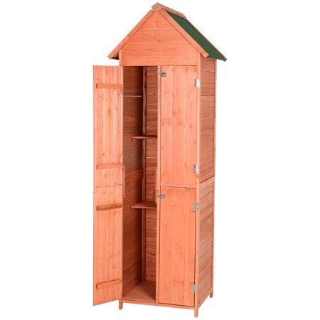 Outsunny Pine Wood Storage Shed, Waterproof Outdoor Tool Organizer Cabinet for Garden Backyard with 4 Lockable Doors Top Patio Cabinet