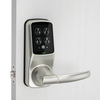Secure Plus Smart Latch Door Lock with Fingerprint Access & Touchscreen (Satin Nickel)