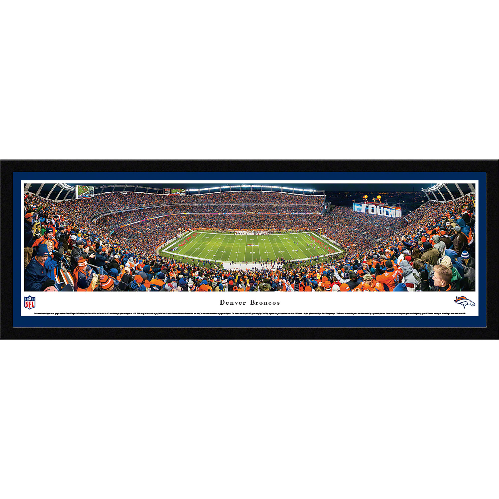 Denver Broncos - 50 Yard Line at Sports Authority Field at Mile High - Blakeway Panoramas NFL Print with Select Frame and Single Mat