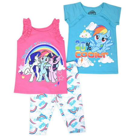 My Little Pony Toddler Girl T-Shirt, Tank Top, & Leggings, 3pc Outfit Set