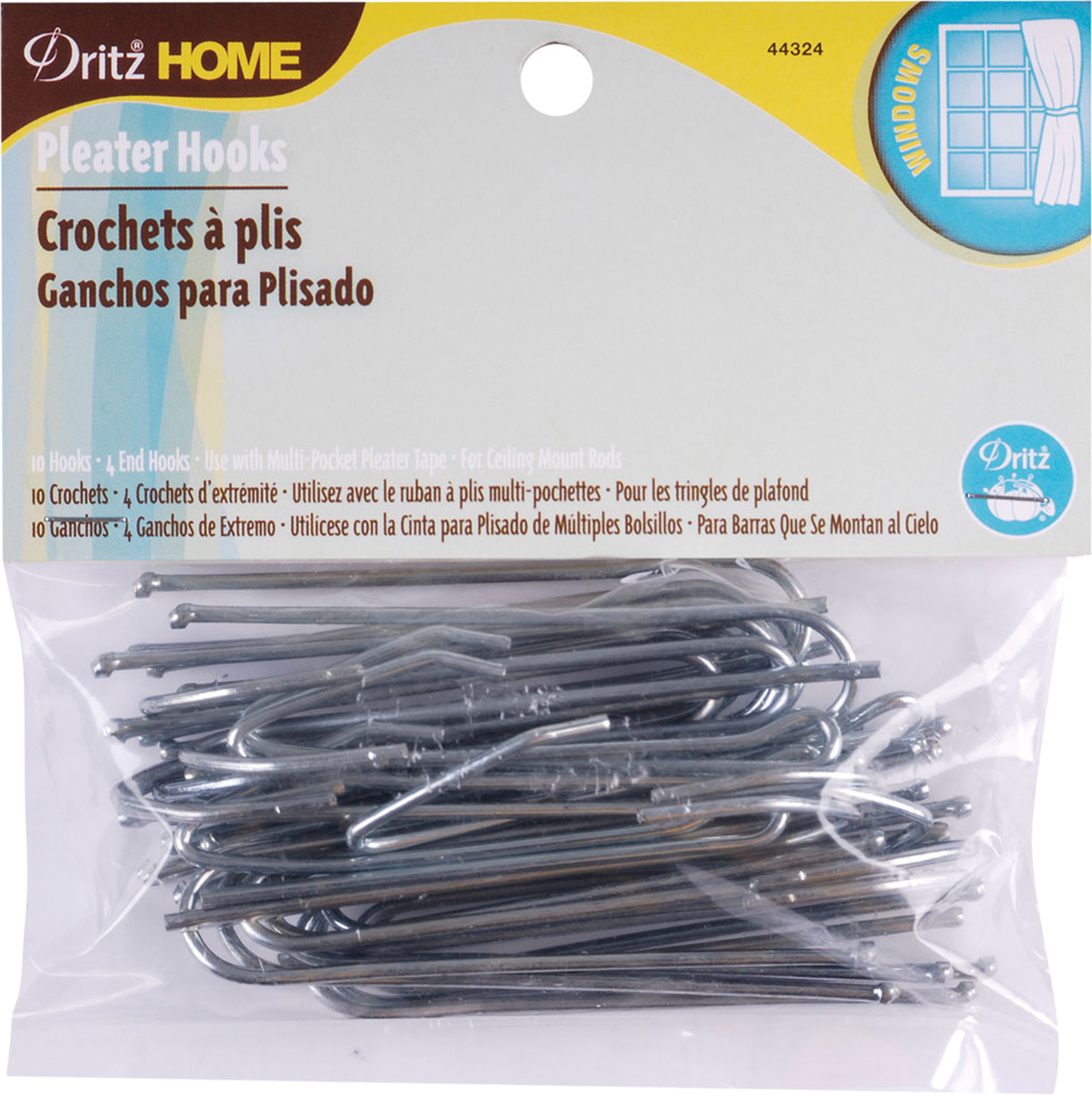 Ceiling Pleater Hooks, 10pk, 4 Ends