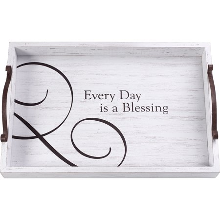 Precious Moments Every Day Is A Blessing Rustic Farmhouse Distressed 12 x 8 Wood And Metal Decorative Serving Tray 173436 - Small Wood Tray