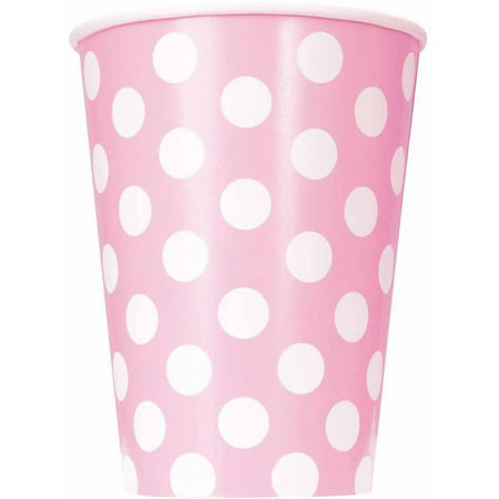 12 oz Light Pink Polka Dots Paper Cups, 6ct for $<!---->