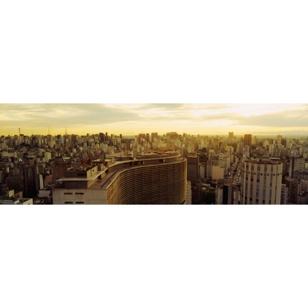 High Angle View Of A City Copan Building Hotel Hilton Rua Consolacao Sao Paulo Brazil Canvas Art   Panoramic Images  36 X 12