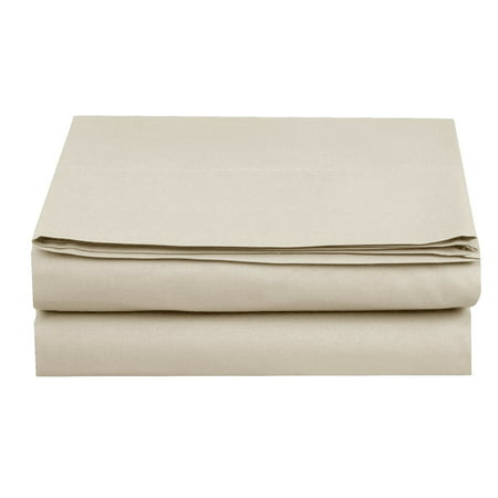 Flat Sheet ! - Elegant Comfort® Wrinkle-Free 1500 Thread Count Egyptian Quality 1-Piece Flat Sheet, Full Size, Cream