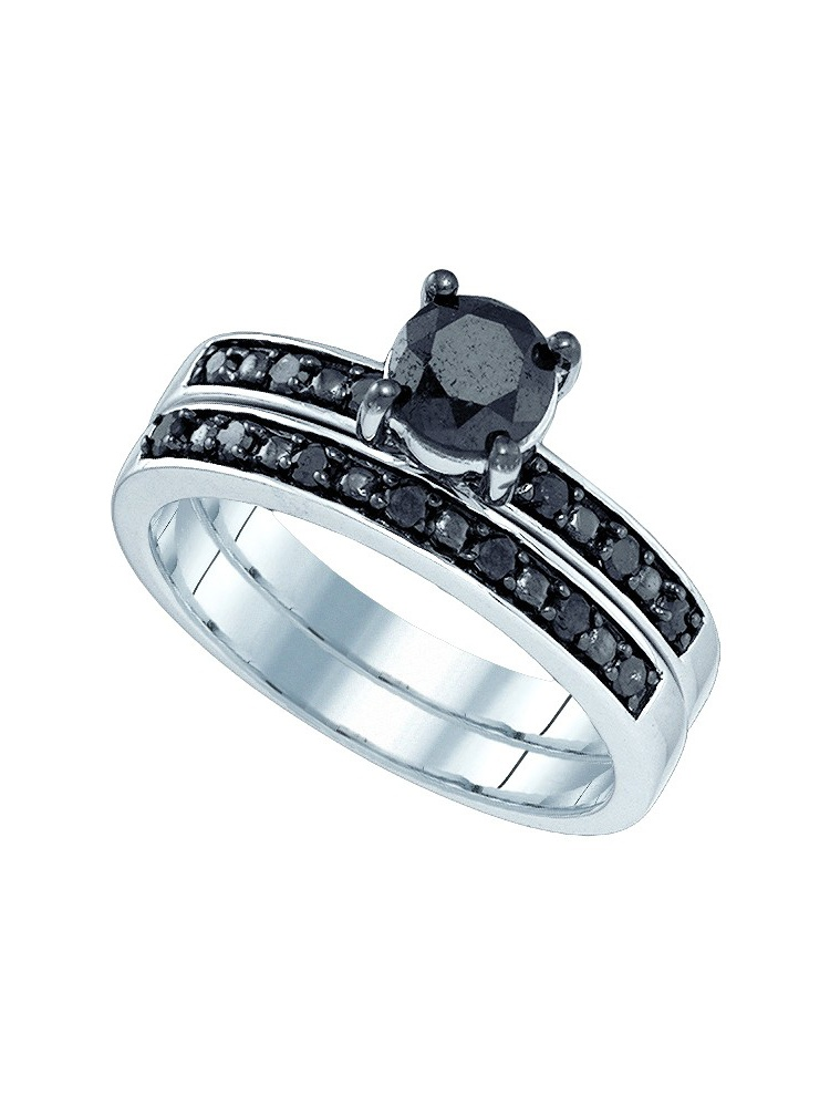 10kt White Gold Womens Black Colored Diamond Round Bridal Wedding Engagement Ring Band Set (1.00 cttw.) size- 10.5 by