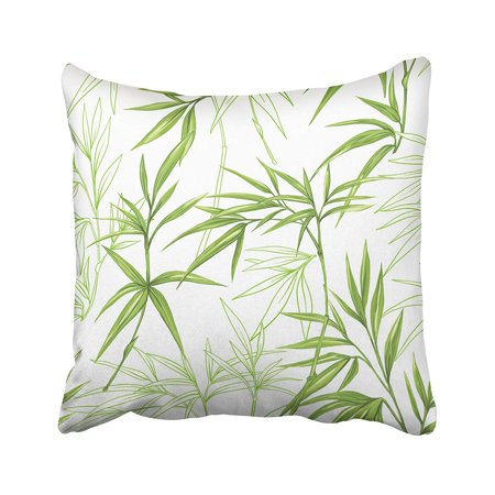 ARHOME Beige Leaf Exotic Pattern with Green Tropical Leaves on White Colorful Bamboo Pillow Case Pillow Cover 18x18 inch Throw Pillow Covers