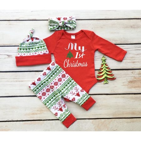 Newborn Baby Boys Girls First Christmas Clothes Romper Pants Hat Outfit Set 3PCS ()