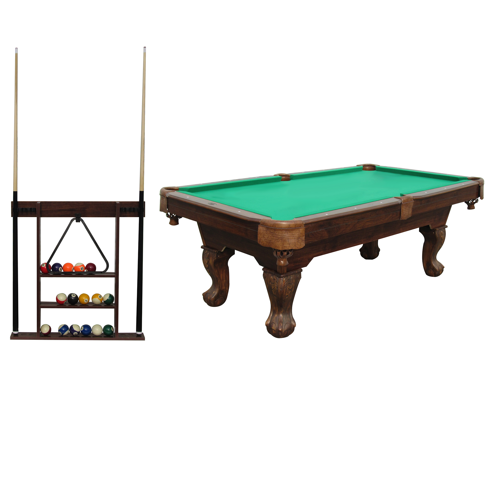 Sportcraft 7.5' Ball and Claw Billiard Pool Table with Cue Rack and Accessories by MD Sports