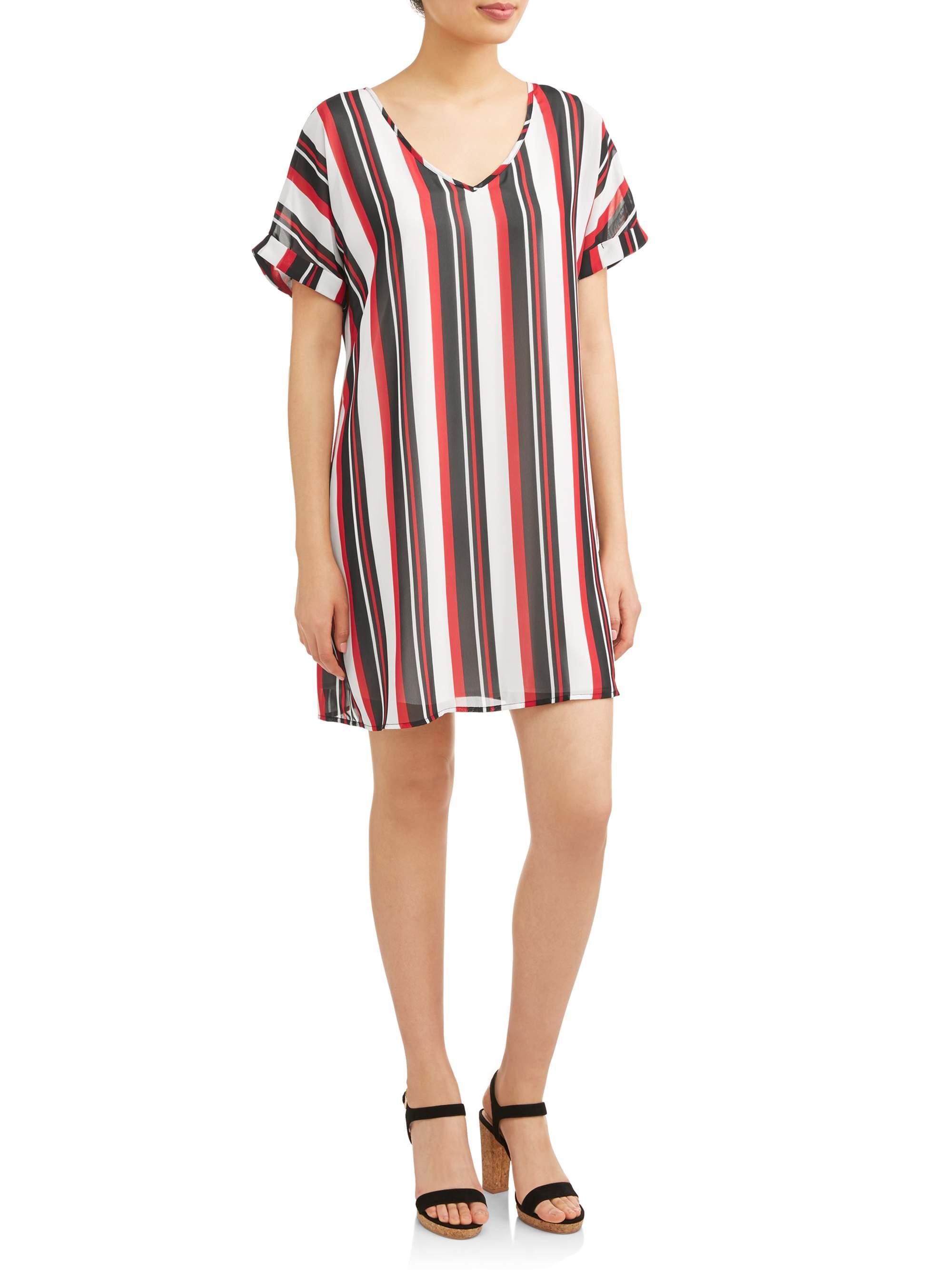 Juniors' Striped Short Sleeve Dress