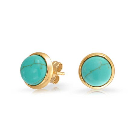 Simple Gemstone Bezel Set Round Dome Button Stud Earrings For Women 14K Gold Plated 925 Sterling Silver More -