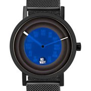 Mens Foretell Analog Stainless Watch - Black Mesh Bracelet - Blue Dial - 7216BSS