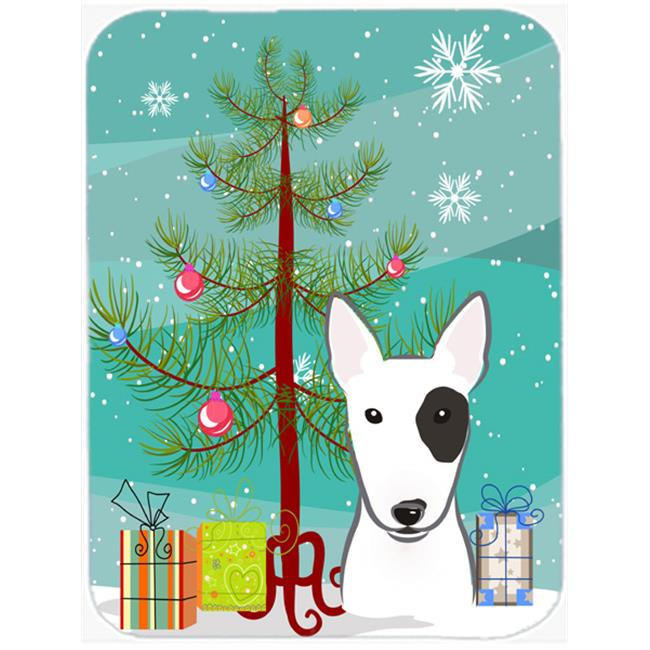 Christmas Tree And Bull Terrier Mouse Pad, Hot Pad & Trivet