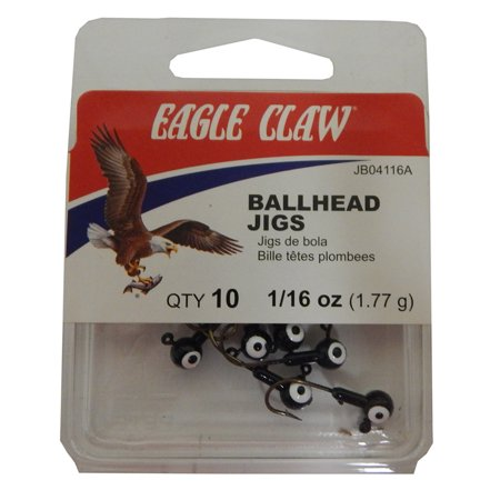 Eagle Claw Double Eye Ballhead Jig Black Size 1 16 Oz Pack Of 10  Jb04116ah