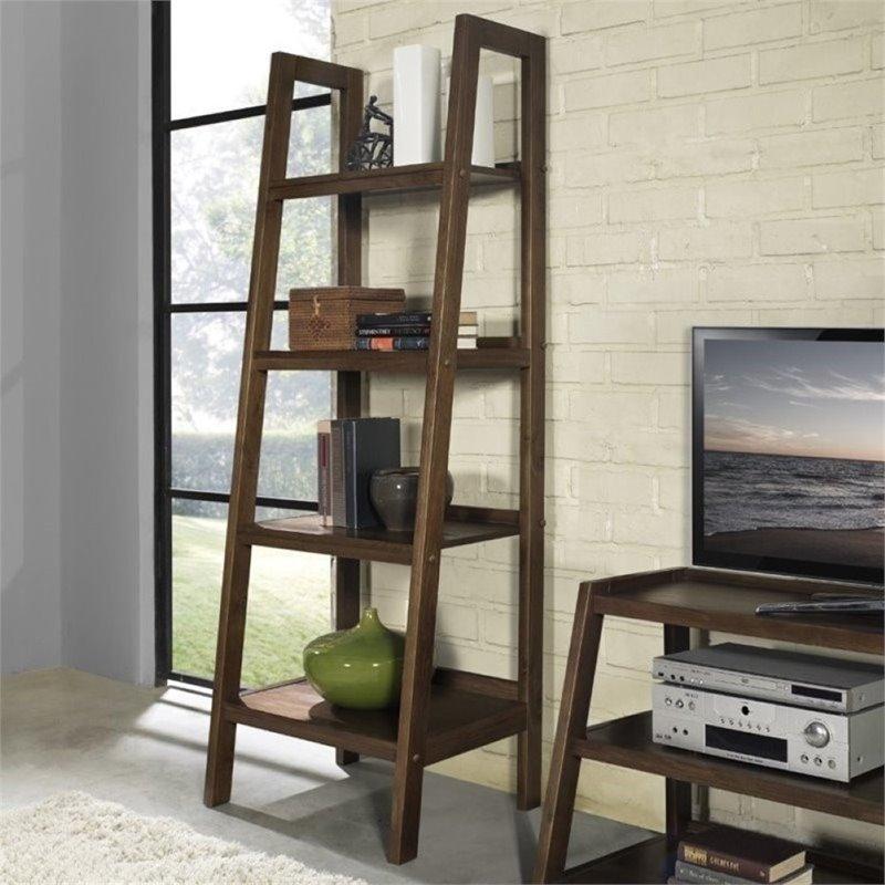Atlin Designs 4 Shelf Ladder Bookcase in Saddle Brown