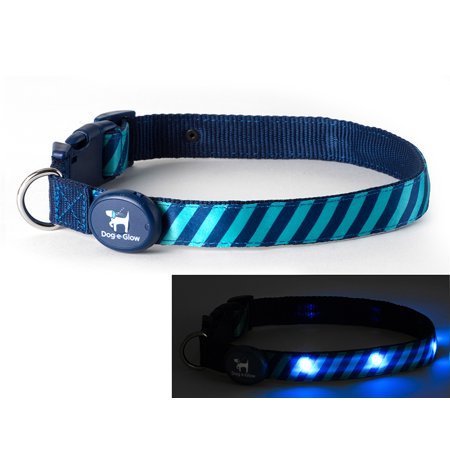 "Light Up LED Dog Collar - Patented Light Up Durable Glowing Collar for Puppies and Dogs - by Dog e Glow (Green Stripes, small 8""-12"" inch neck)"