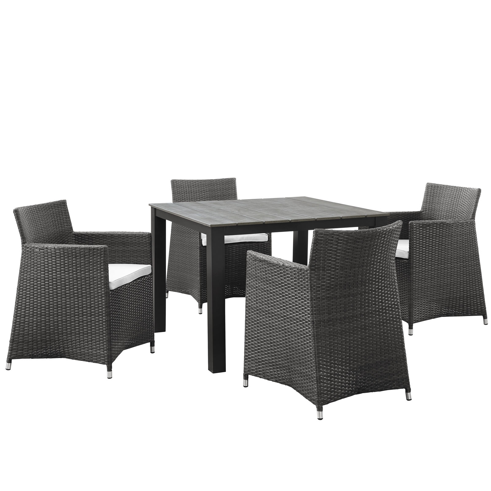 Modern Contemporary Five PCS Outdoor Patio Dining Set, White, Polywood, Aluminum