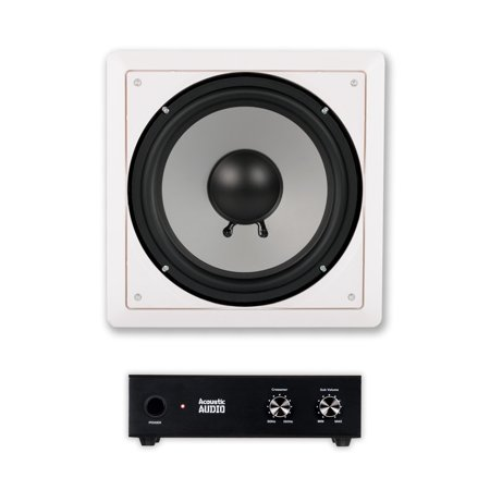 acoustic audio cs iw10sub in wall 10 passive subwoofer and amplifier for home theater surround. Black Bedroom Furniture Sets. Home Design Ideas