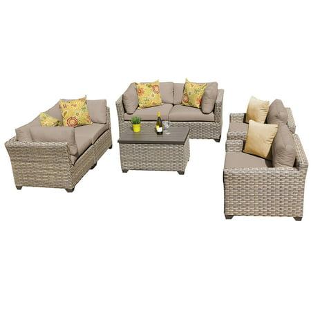 Hampton 7 Piece Outdoor Wicker Patio Furniture Set 07c ()