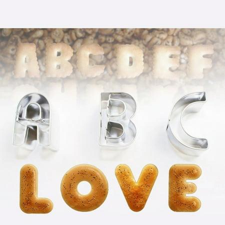 26pcs Stainless Steel Alphabet Letters Biscuit Cutters DIY 3D Cookies Molds Mini A-Z Shaped Mould Decorating Tool Bakware Kitchen Fondant Decoration Tools - image 6 de 7