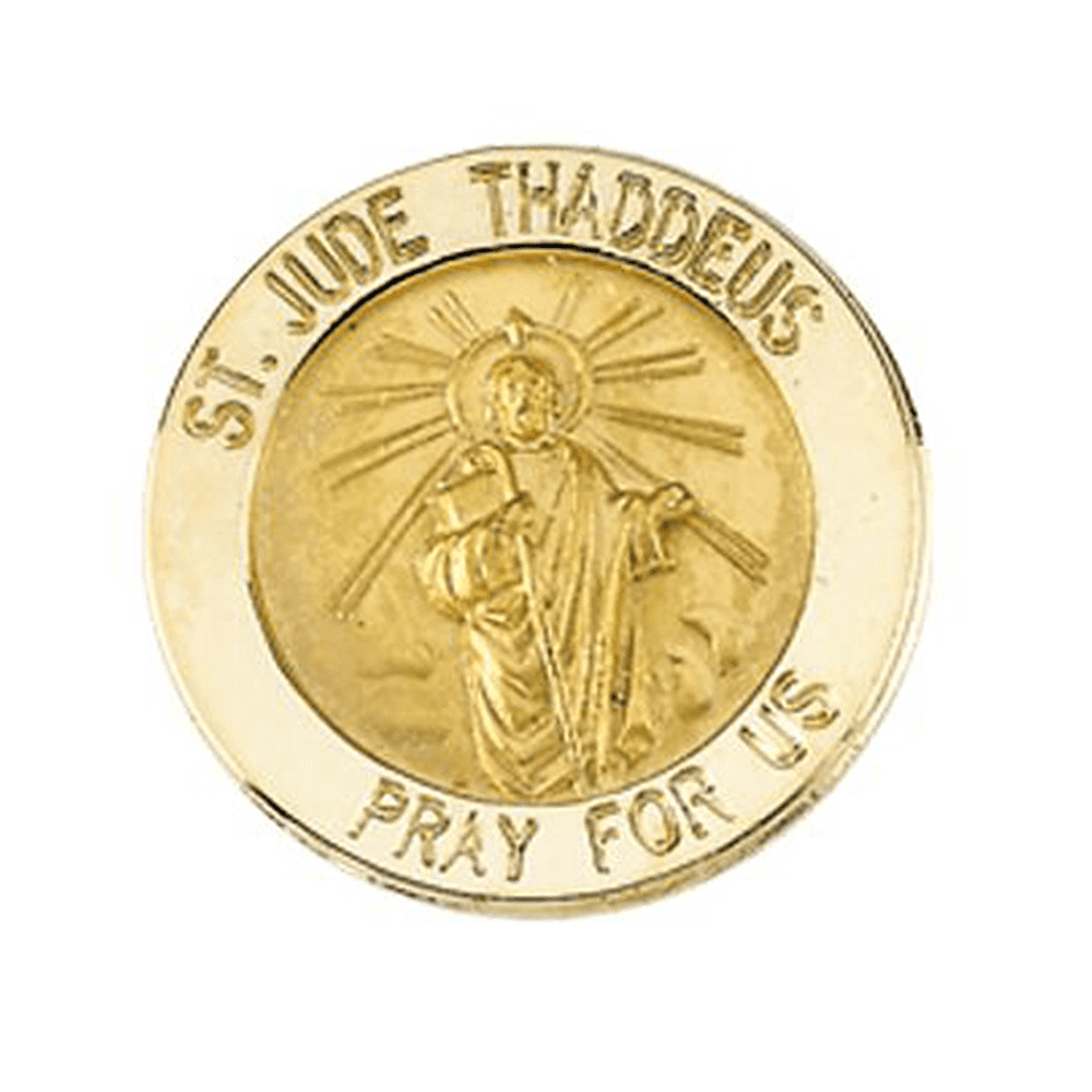 14K Yellow Gold Saint Jude Thaddeus Pin Brooch by Yellow-Gold Brooches