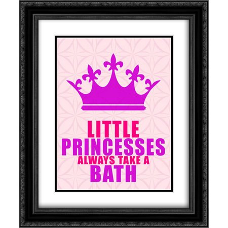 Little Princesses Bath 2x Matted 20x24 Black Ornate Framed Art Print by Allen, Kimberly ()