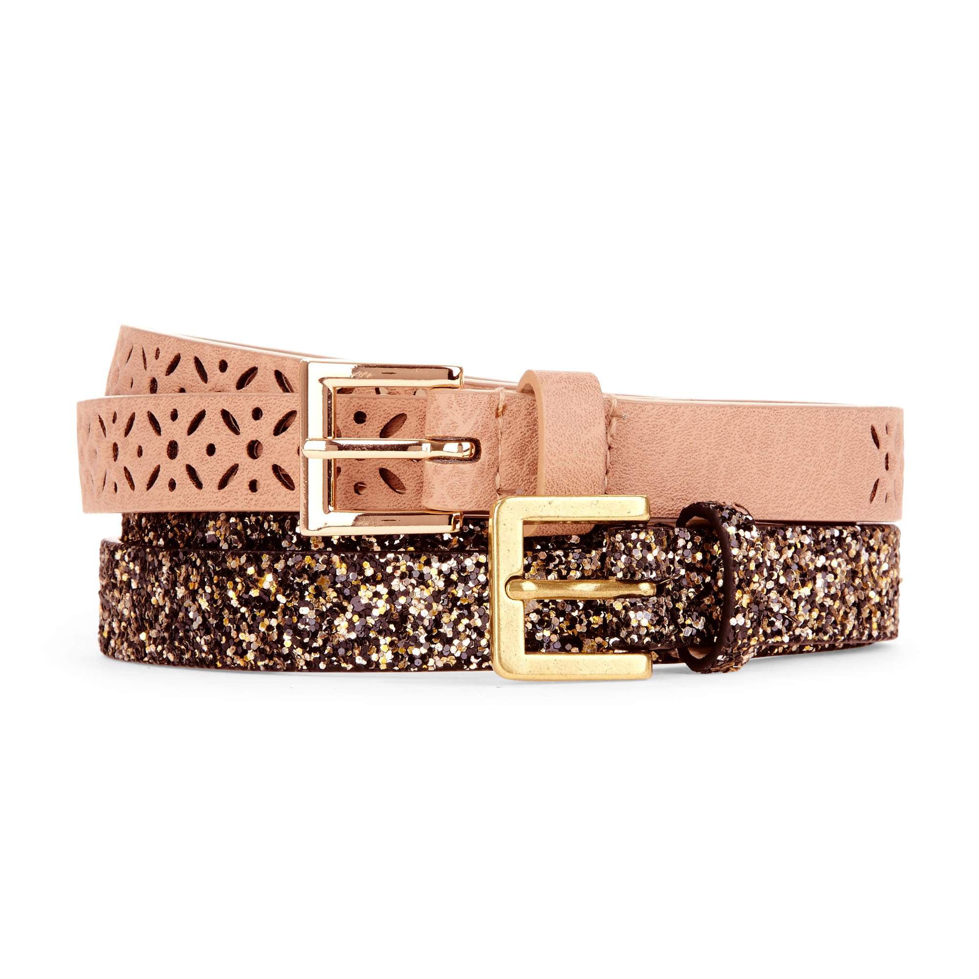 No Boundaries Women's Fashion Basic Belt, 2-Pack
