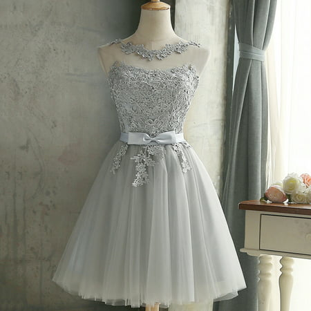 Sexy Women Lace Bridesmaid Dress Sleeveless Embroidered Mesh Tulle Slim Elegant Ladies Party Wedding Formal Dress ()
