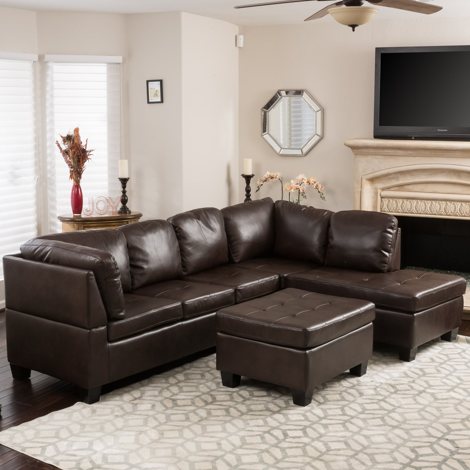 Evan 3 Piece Leather Sectional Sofa - Walmart.com
