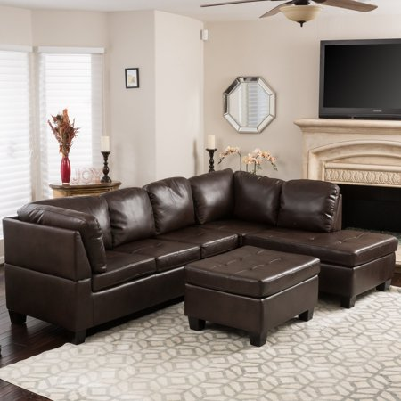 Brown Leather Sectional Sofa (Evan 3 Piece Leather Sectional)