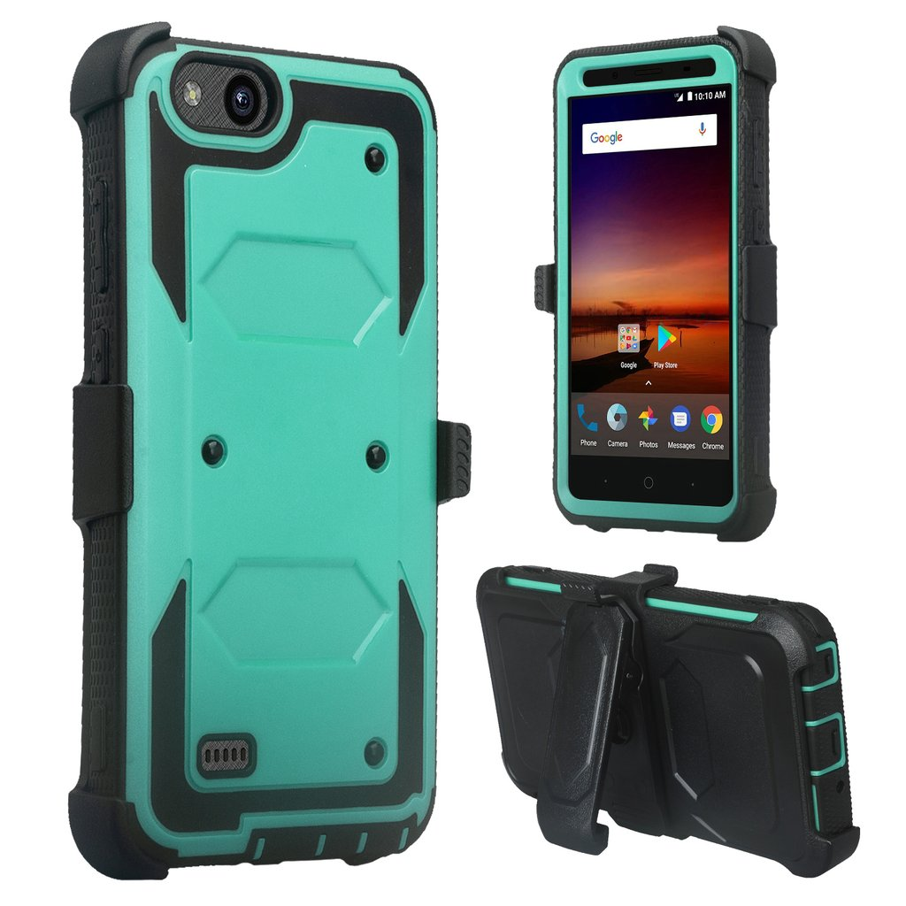 ZTE Tempo X, N9137, ZTE Blade Vantage Case, Triple Protection 3-1 w/ Built in Screen Protector Heavy Duty Holster Shell Combo Case Cover - Black - image 1 de 4