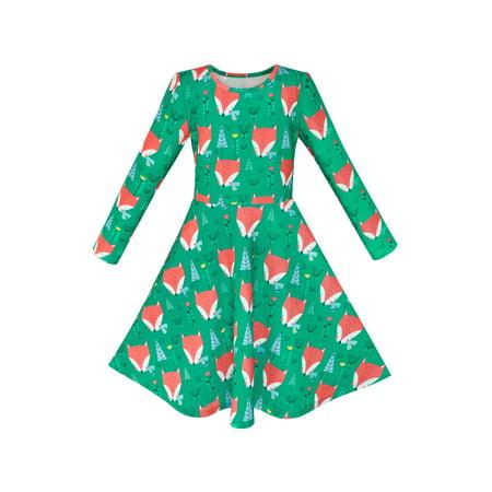 Girls Dress Green Forest Red Fox Long Sleeve Sundress 4 - Green Girl Dresses
