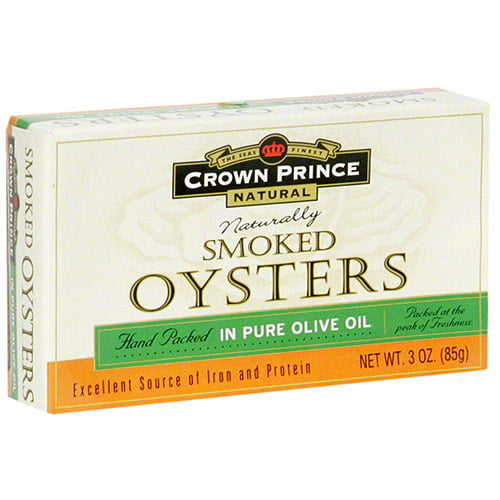 Crown Prince Naturally Smoked Oysters In Olive Oil, 3 oz (Pack of 18) by Crown Prince